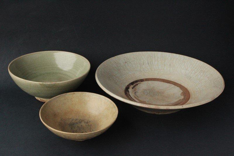 Three Chinese Celadon Glazed Bowls,