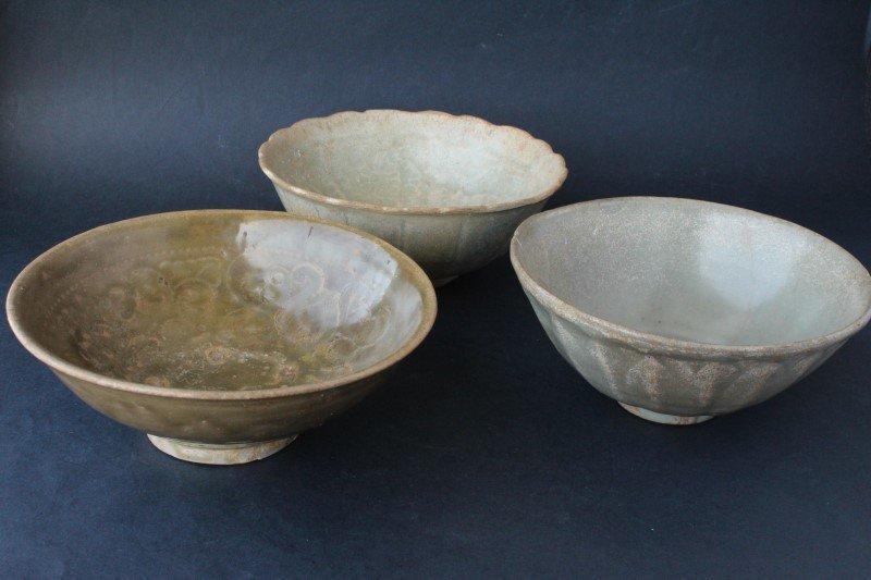 Three Sawankhalok, 14th-15th Century Celadon Bowls