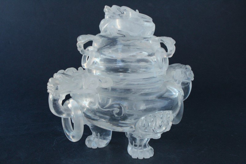 Chinese Rock Crystal Twin Handled Censor and Cover