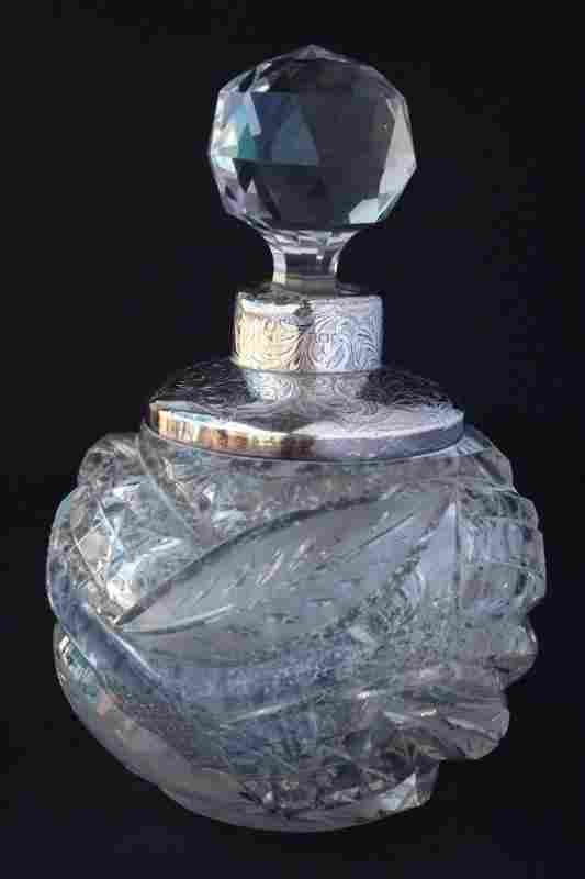 Late Victorian Cut Crystal Toilet Bottle and