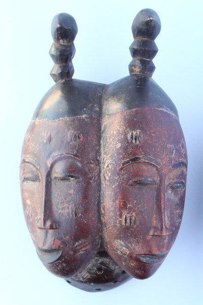 Rare Old Baule Nda Twin  Portrait Mask,