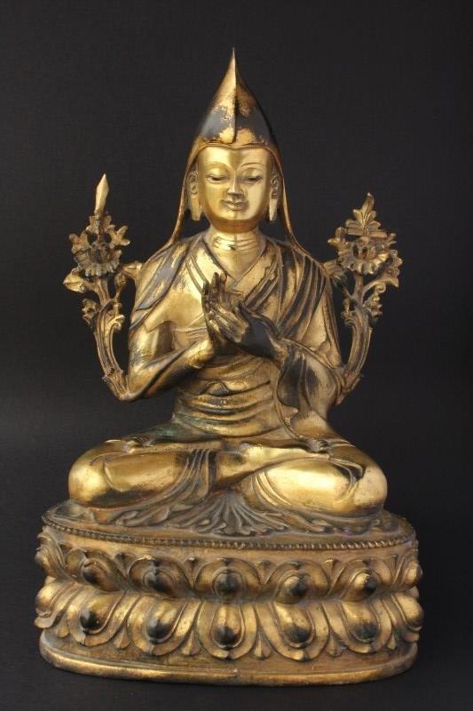 Tibetan Gilt Bronze Figure of Je Tsongkhapa,