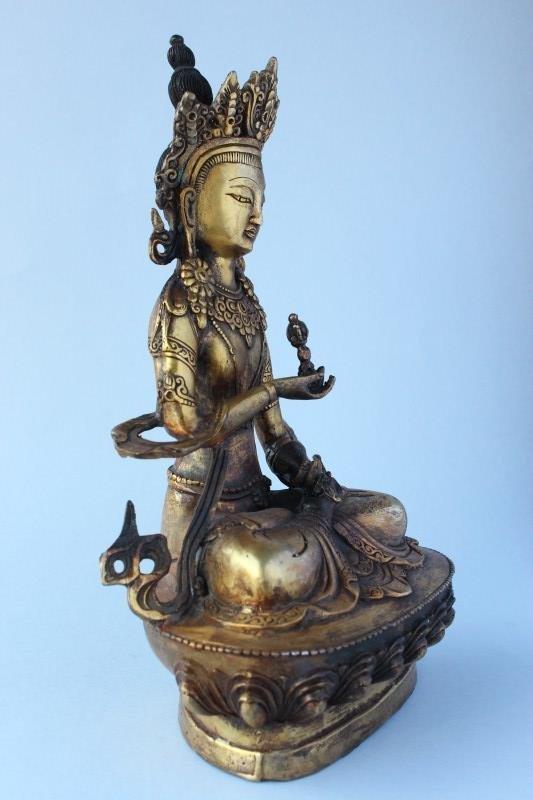 Sino Tibetan Gilt Bronze Tara, - 4