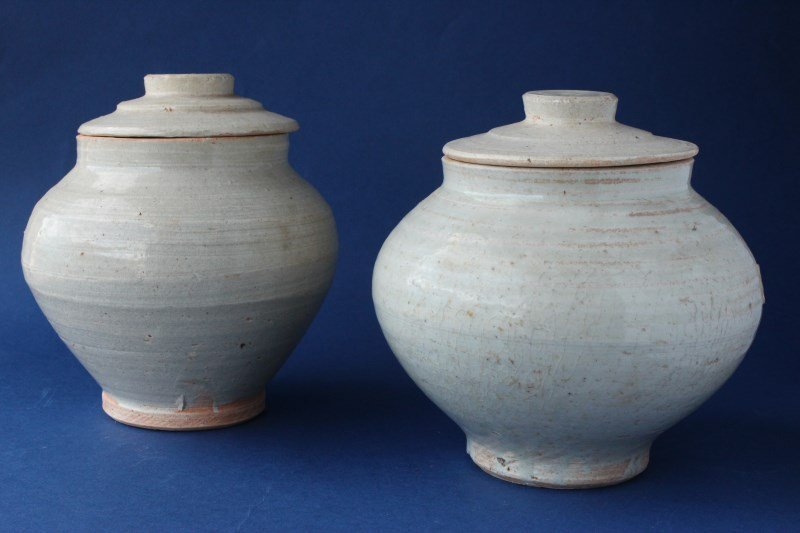 Two Chinese Ding Ware Lidded Jars,
