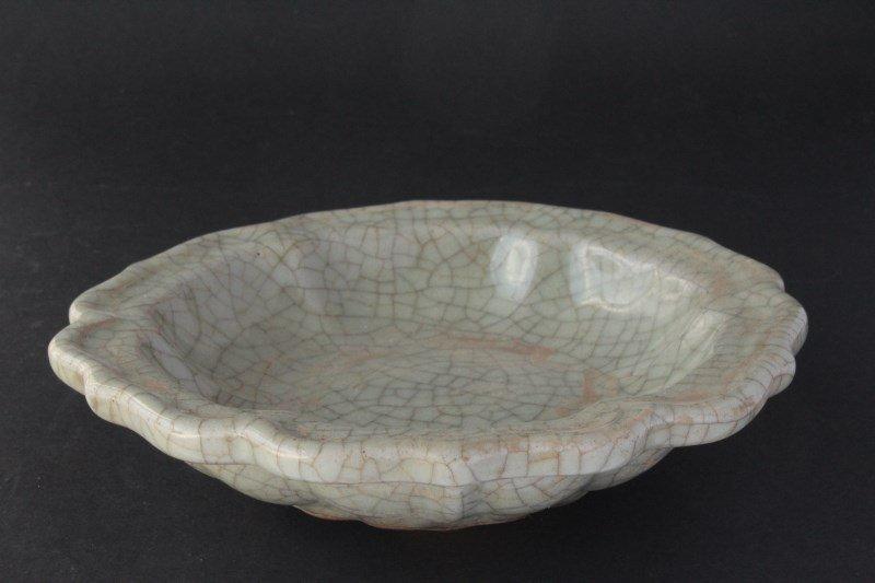 Chinese Lobed Crackle Glazed Celadon Dish,