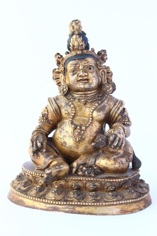 Chinese Gilt Bronze Figure of Jambhala,