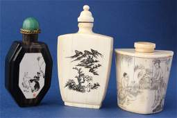 Three Various Chinese Snuff Bottles and Stoppers