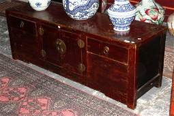 Chinese Low Red Lacquered Cabinet,