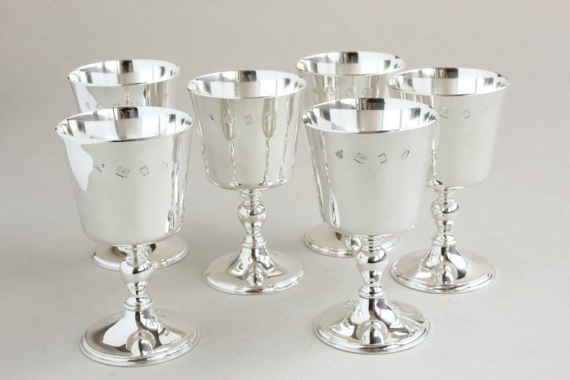 Set of Six Sterling Silver Goblets by Garrard,