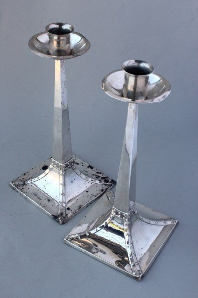 Pair of Arts & Crafts Sterling Silver Candlesticks,