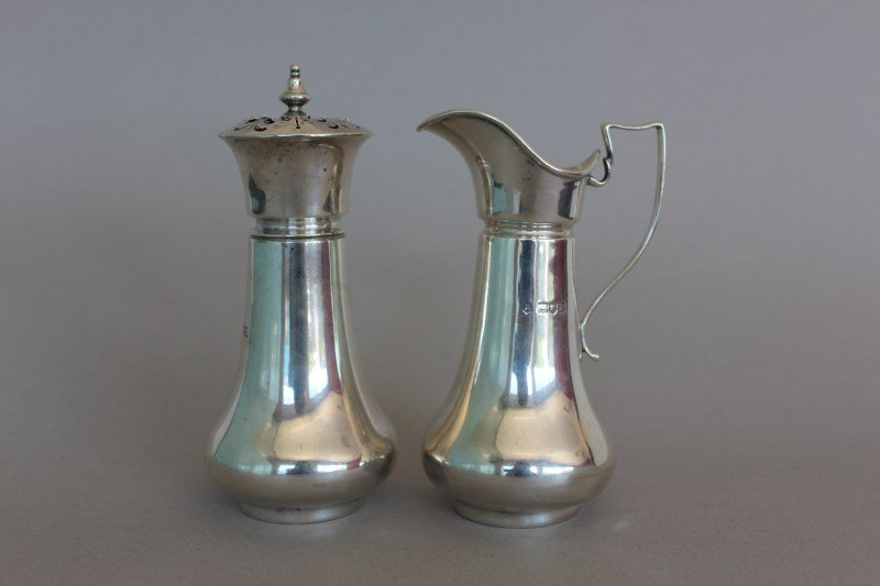 Pair of Edwardian Sterling Silver Cruet Items,