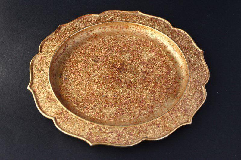 Gilt Tang Style Shallow Dish,