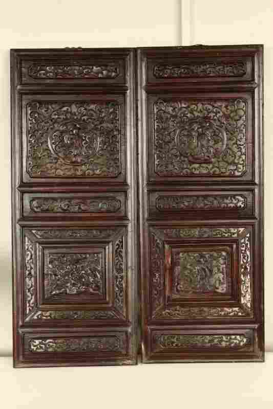 Two Chinese Carved Fretwork Panels,