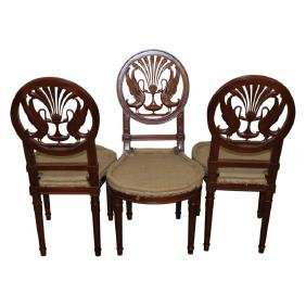 French Empire Swan Back Carved Chairs - 6PCS