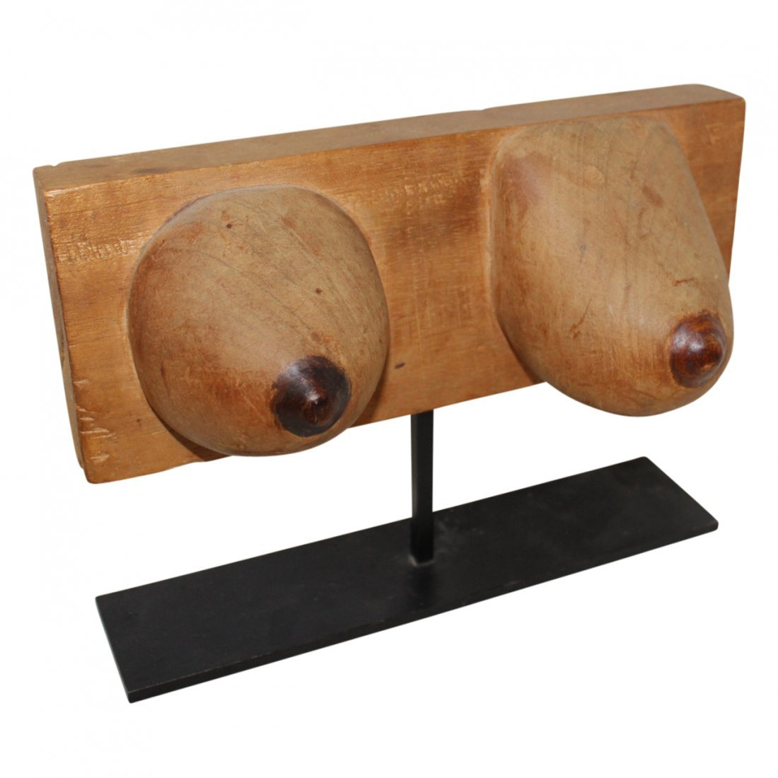 Artist Signed MCM wood sculpture of Breasts on stand