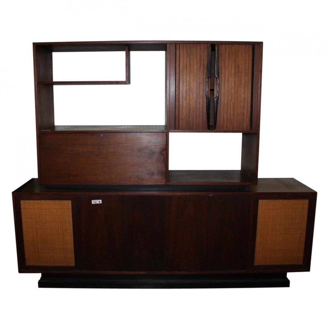 2 Part Mid Century Modern Shelf Unit with BAR