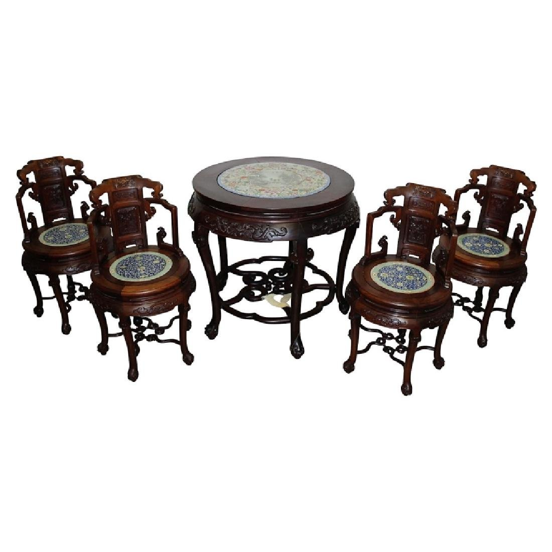 18th/19th Century Chinese Hardwood Table and Chairs