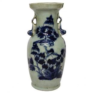 Early Asian Vase with Blue Motifs