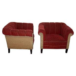 Pair of Squared Mohair Chairs