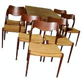 Danish Modern Dining Room Table & 7 chairs