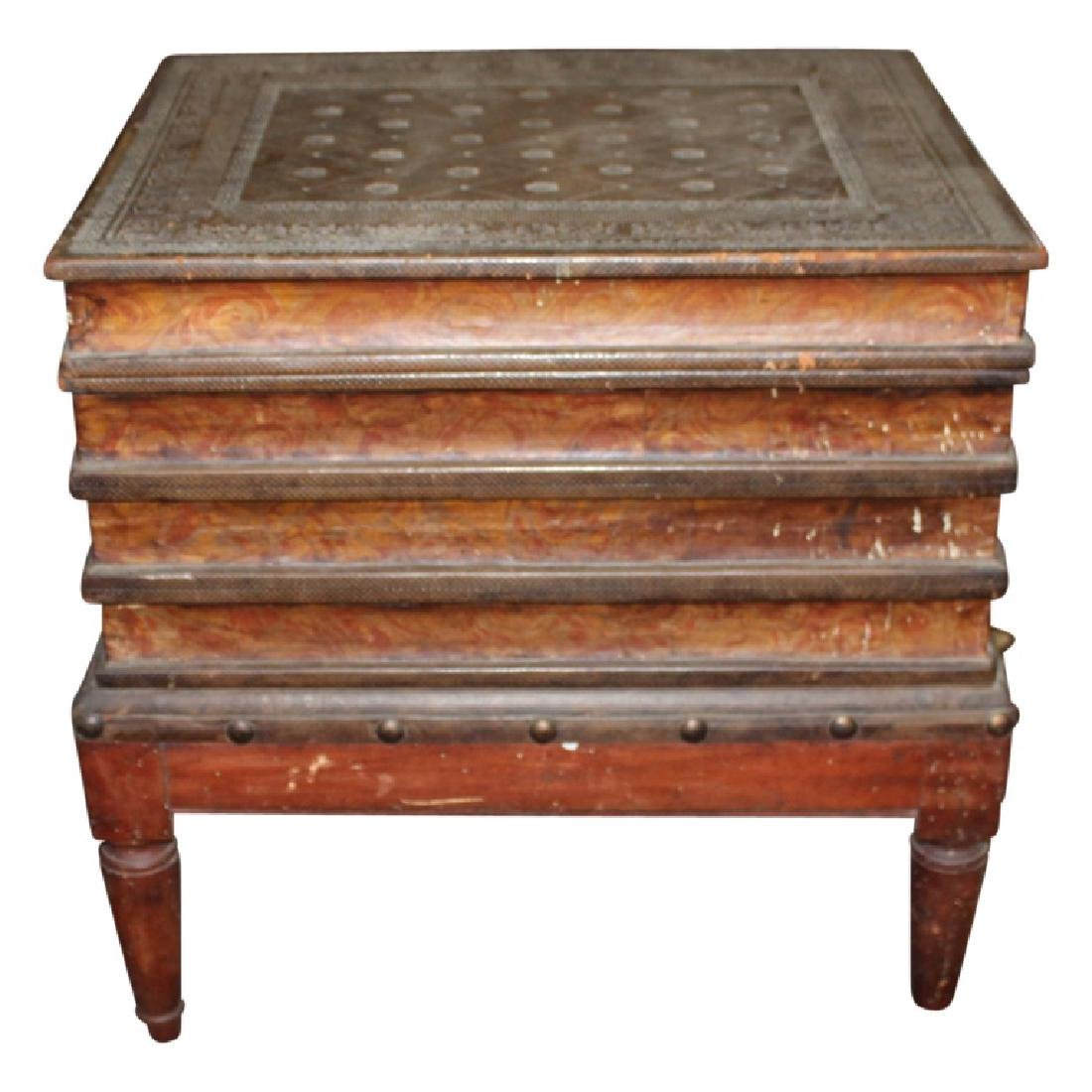 Wood Carved Book Stack End Table