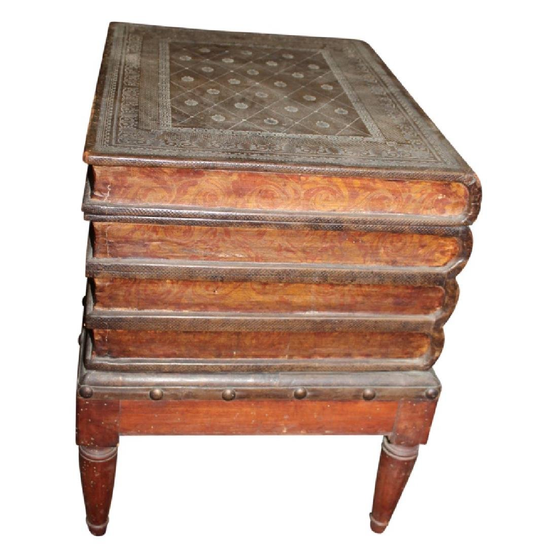 Wood Carved Book Stack End Table - 2