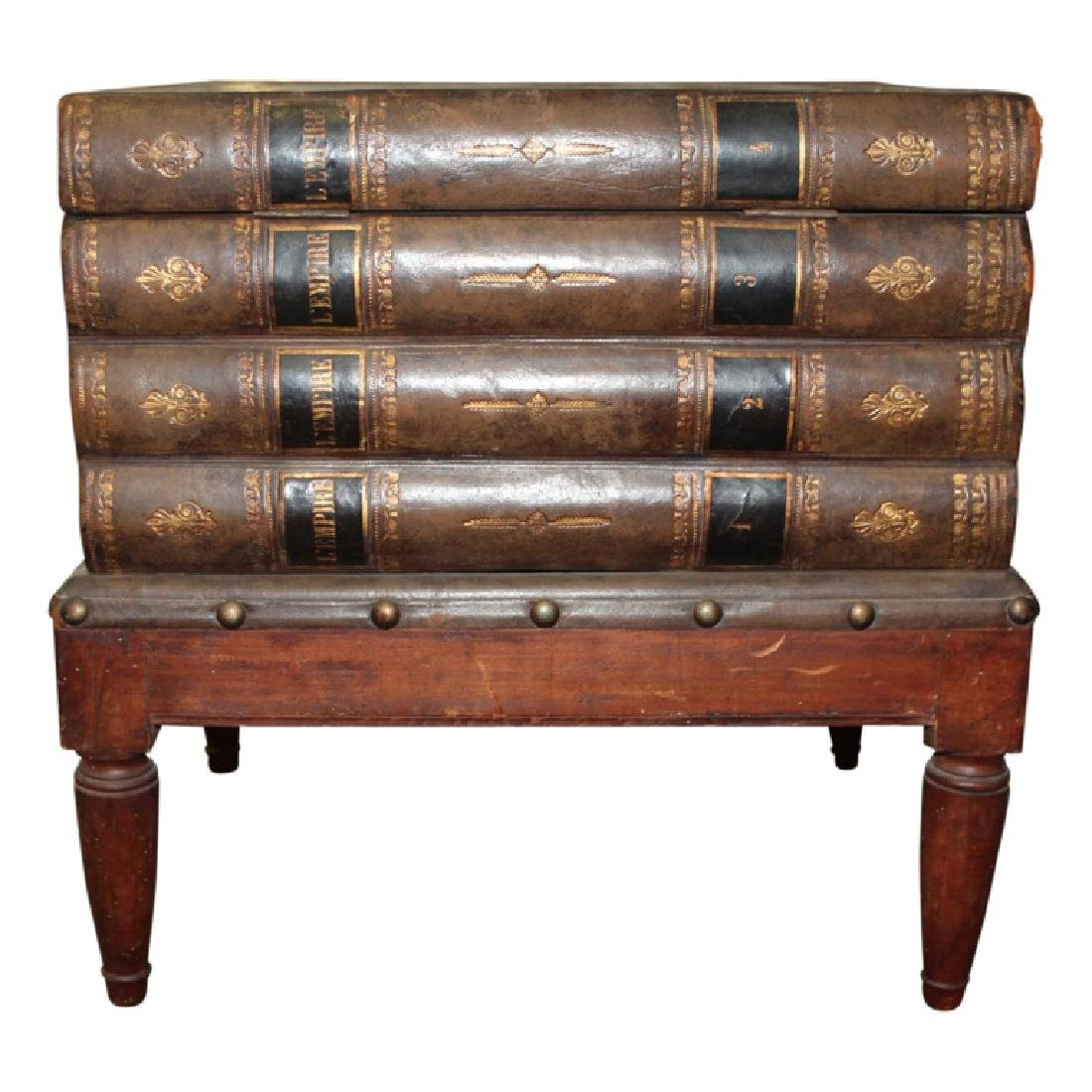Wood Carved Book Stack End Table - 3