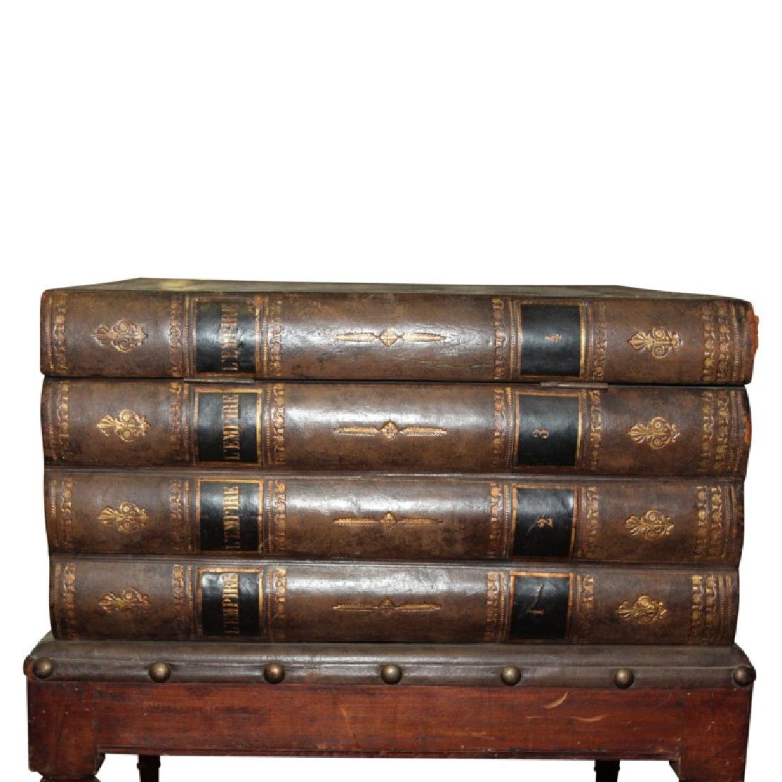 Wood Carved Book Stack End Table - 4