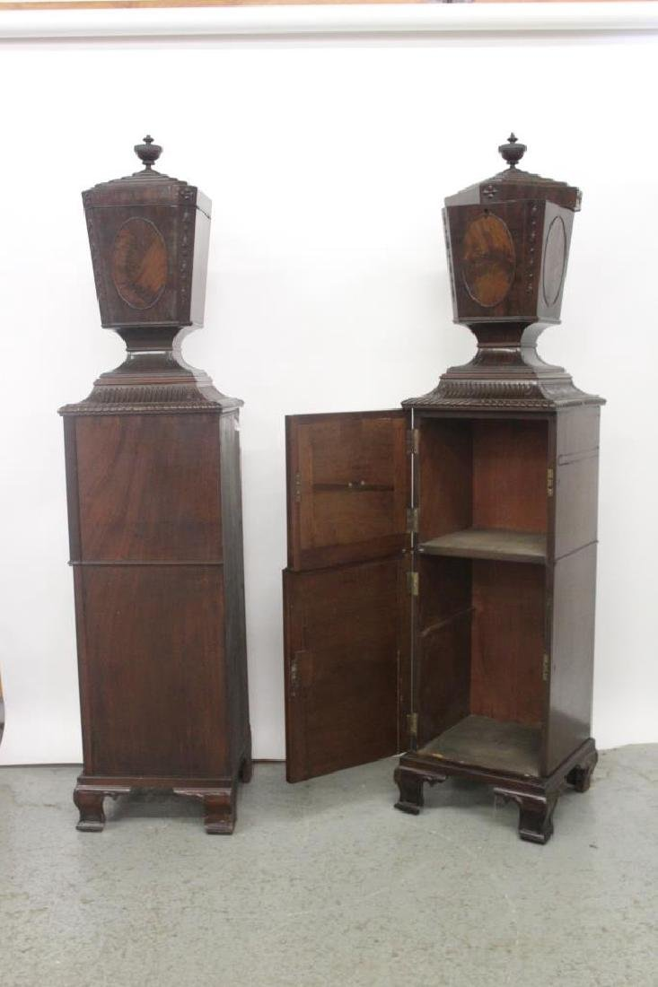 Pair Antique Adams Style Knife Boxes w/ Pedestals - 5