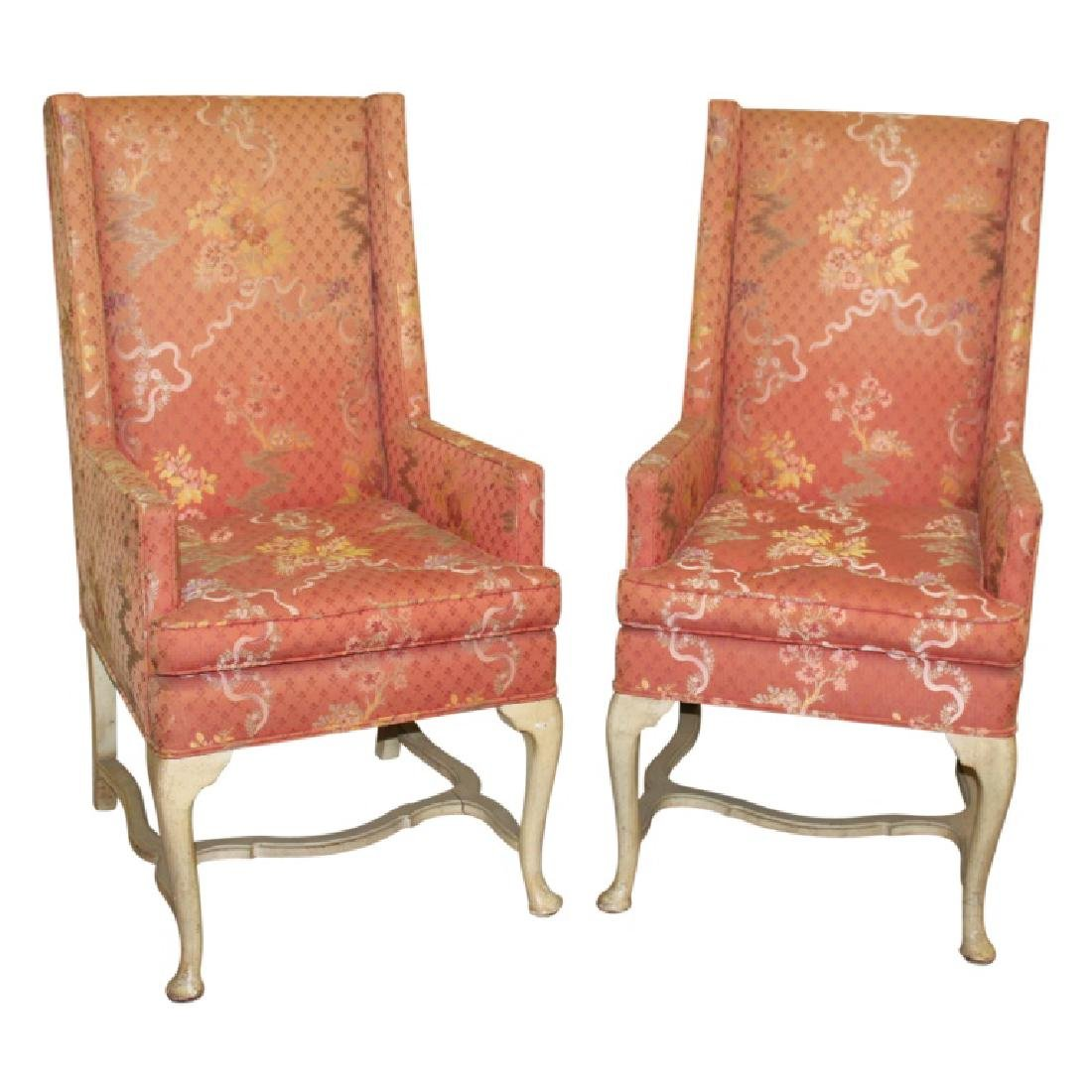 Pair of Upholstered French Fireside Chairs