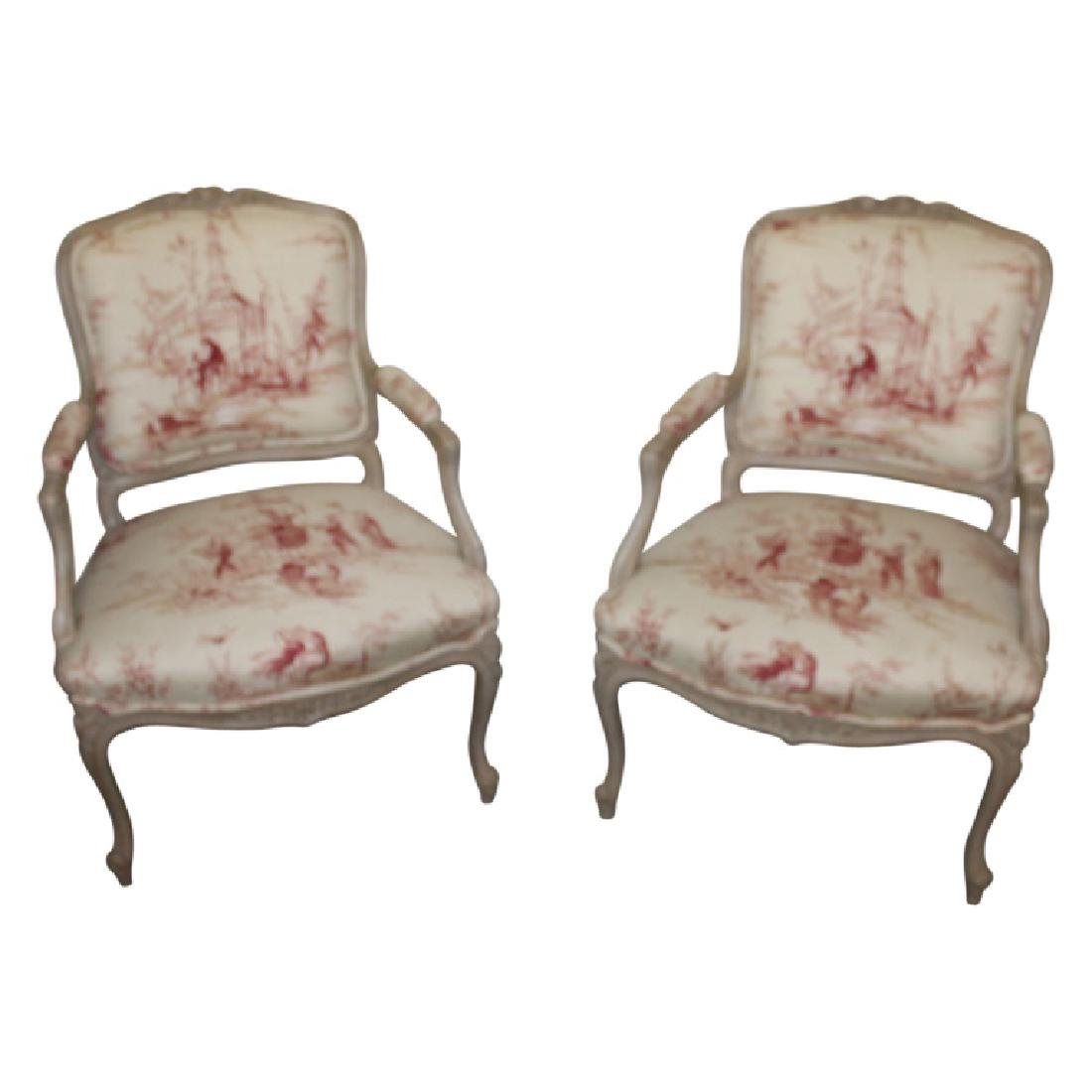 Pair of French Open Arm Chairs