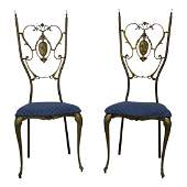 Pair of Neoclassical Brass Side Chairs  EXCEPTIONAL