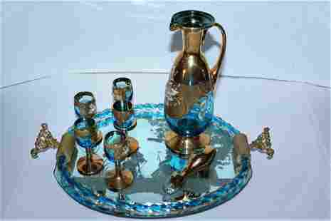 Handpainted Glass Bar Decanter Set 7 PCS