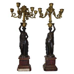 Pair of Bronze Figural Candelabras