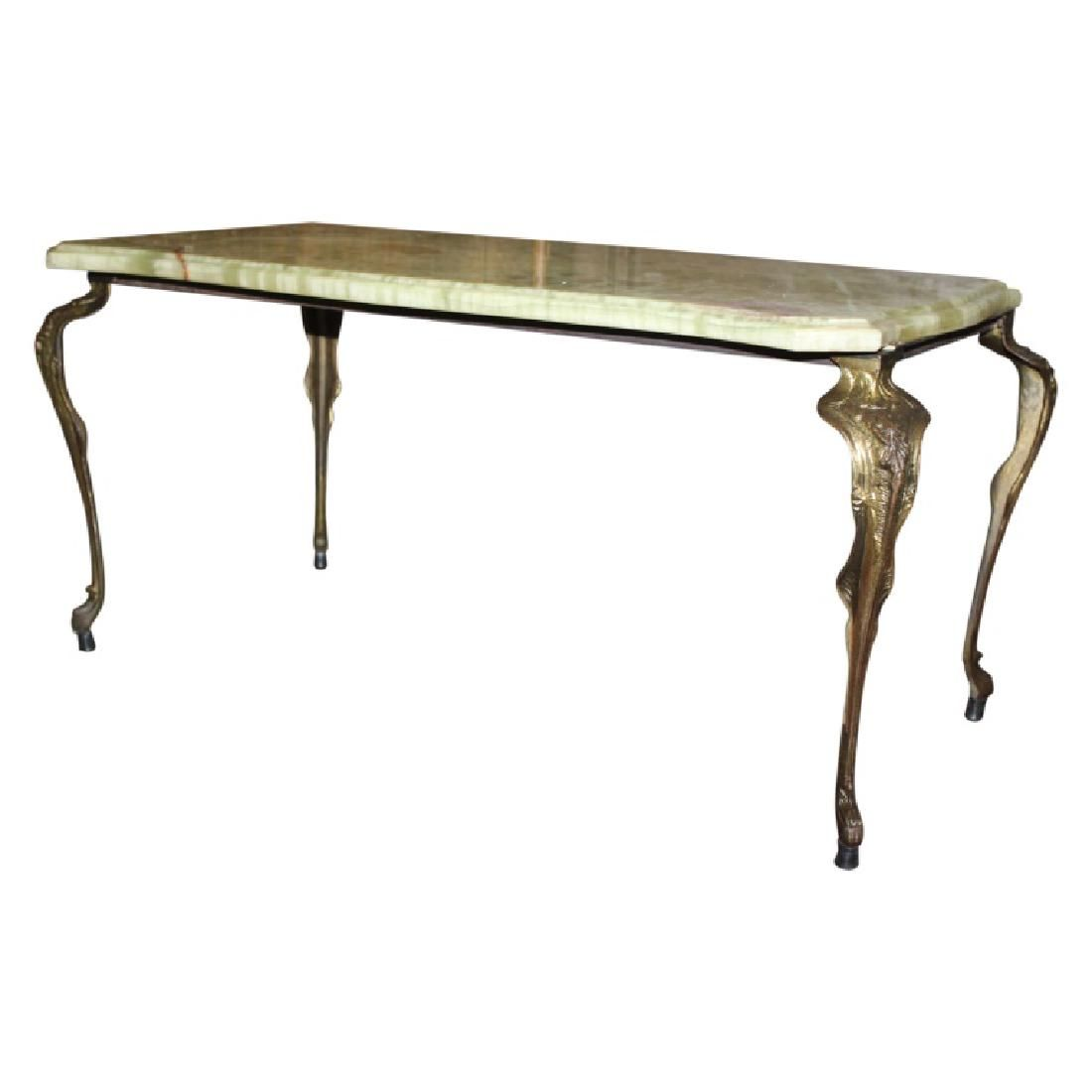 Stunning Antique Coffee Table with Onyx top.