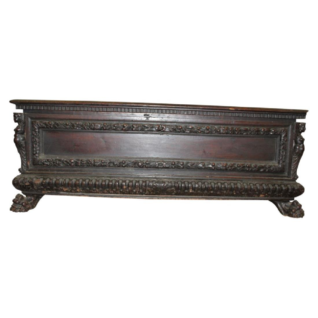Antique Figural Carved Chest w/ Key
