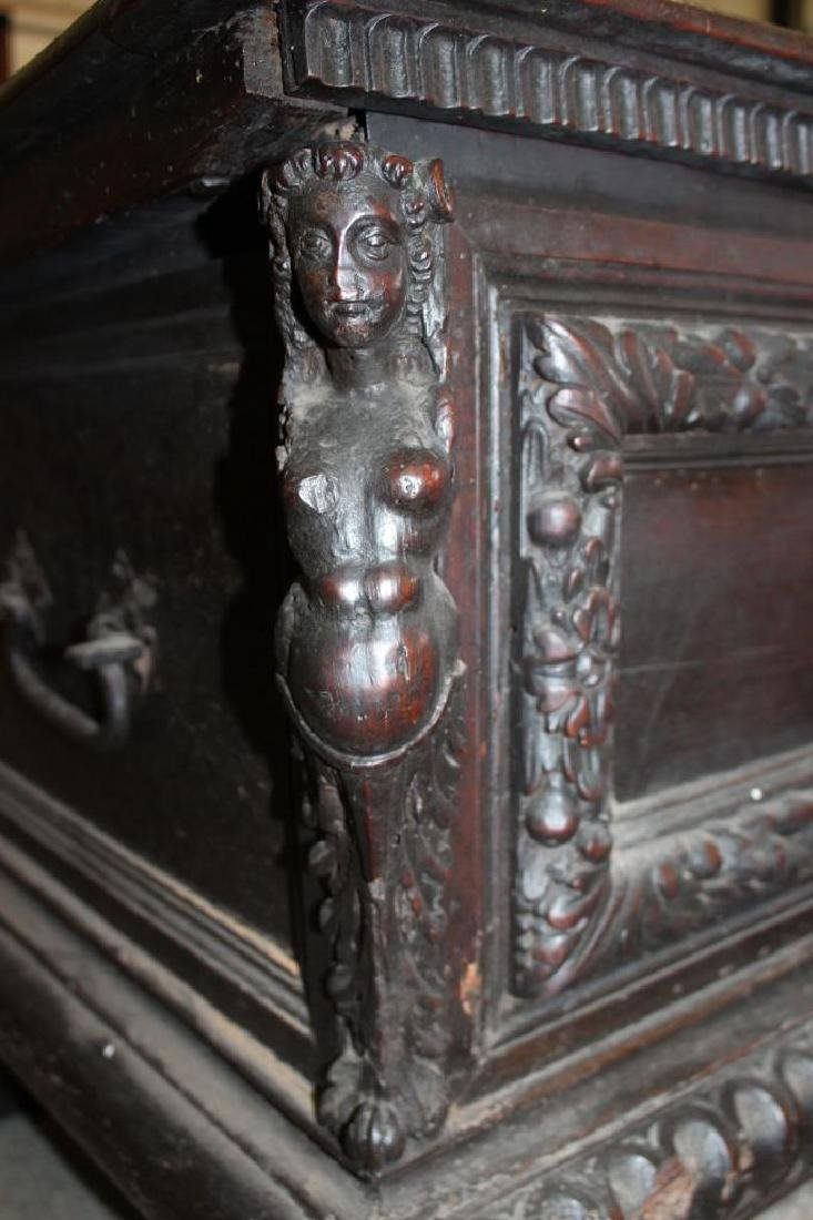 Antique Figural Carved Chest w/ Key - 4