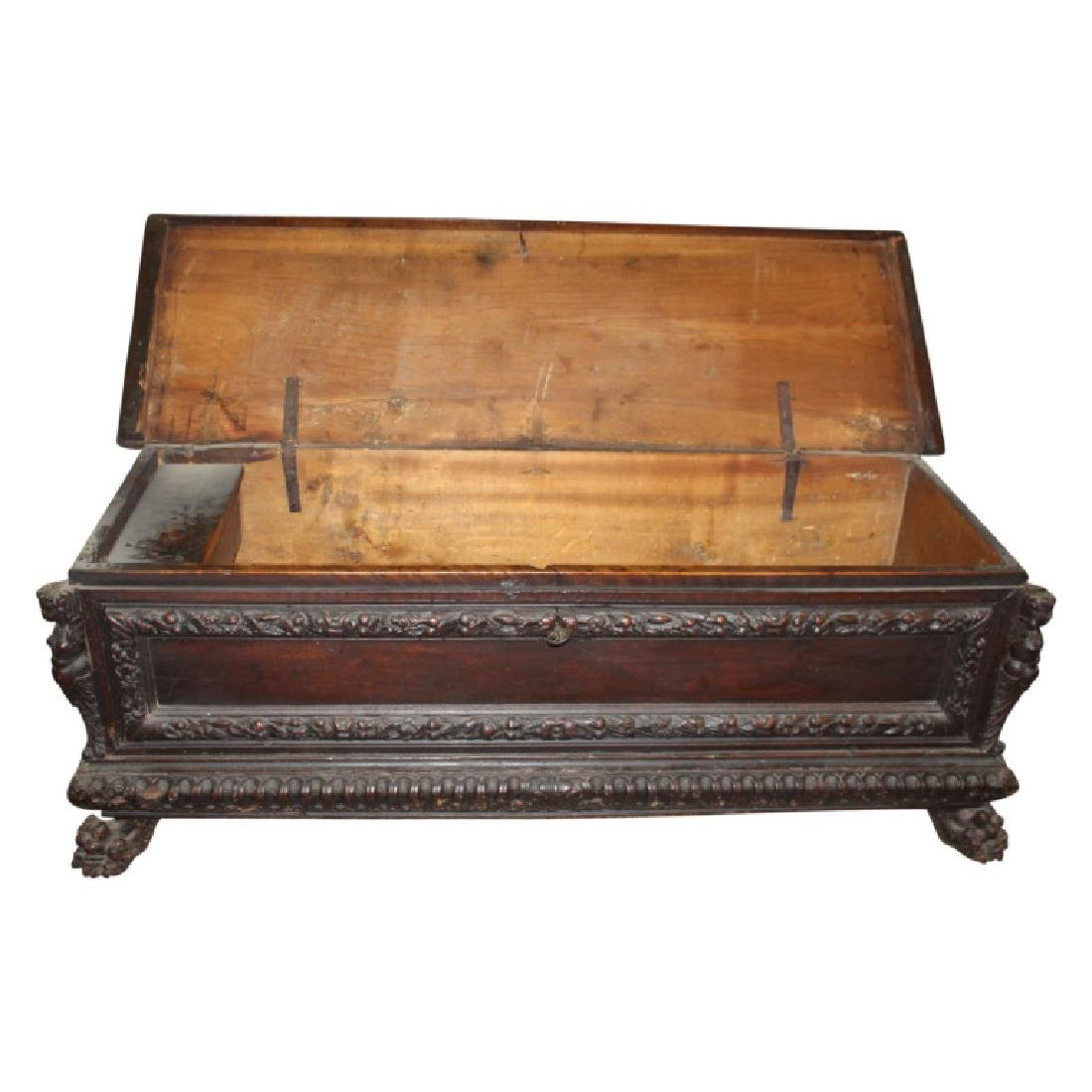 Antique Figural Carved Chest w/ Key - 8