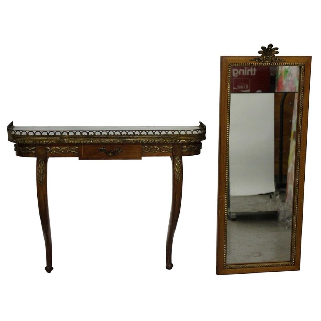 French Marbletop Hanging Console with Mirror