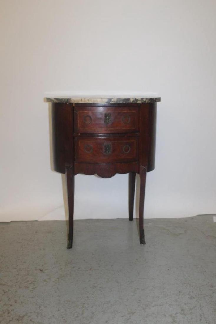Antique French Marbletop Nightstand - 2