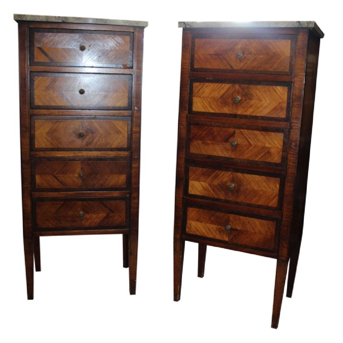 Pair of Marble Top Lingerie Chests