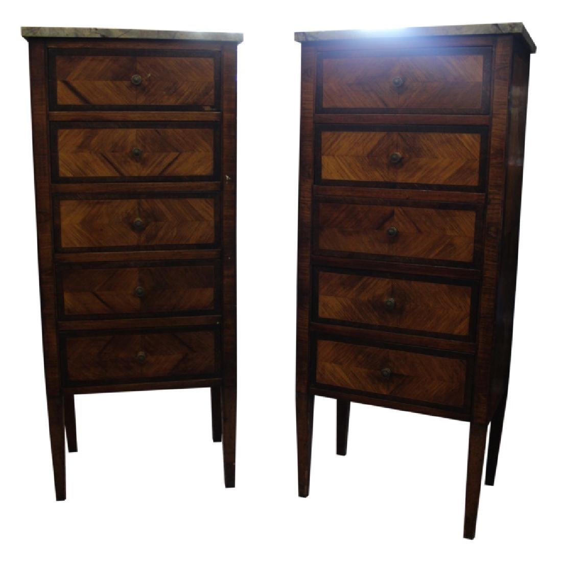 Pair of Marble Top Lingerie Chests - 2