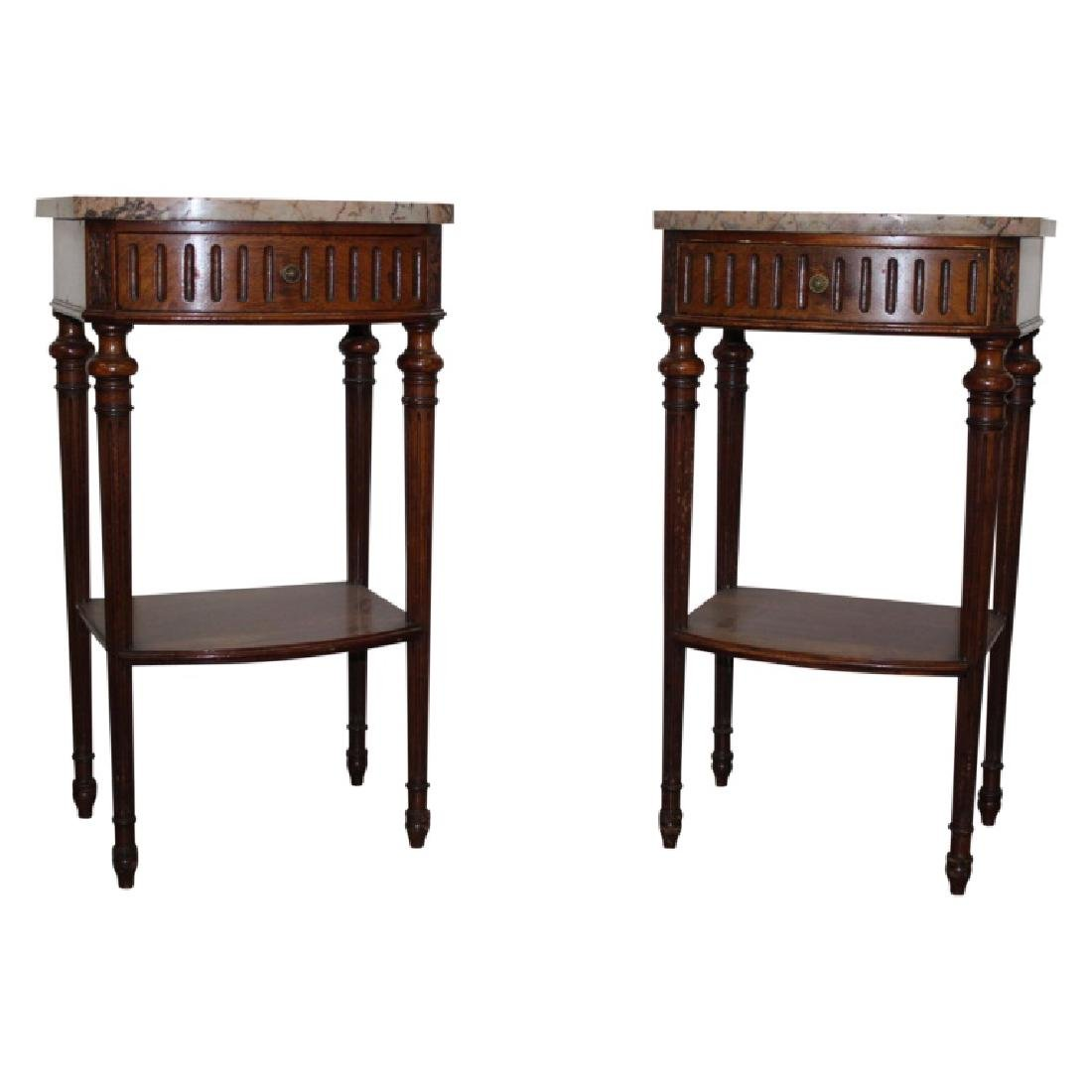 French Marble Top Nightstands