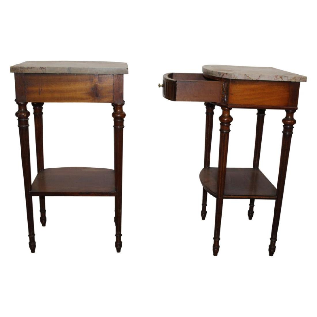French Marble Top Nightstands - 2