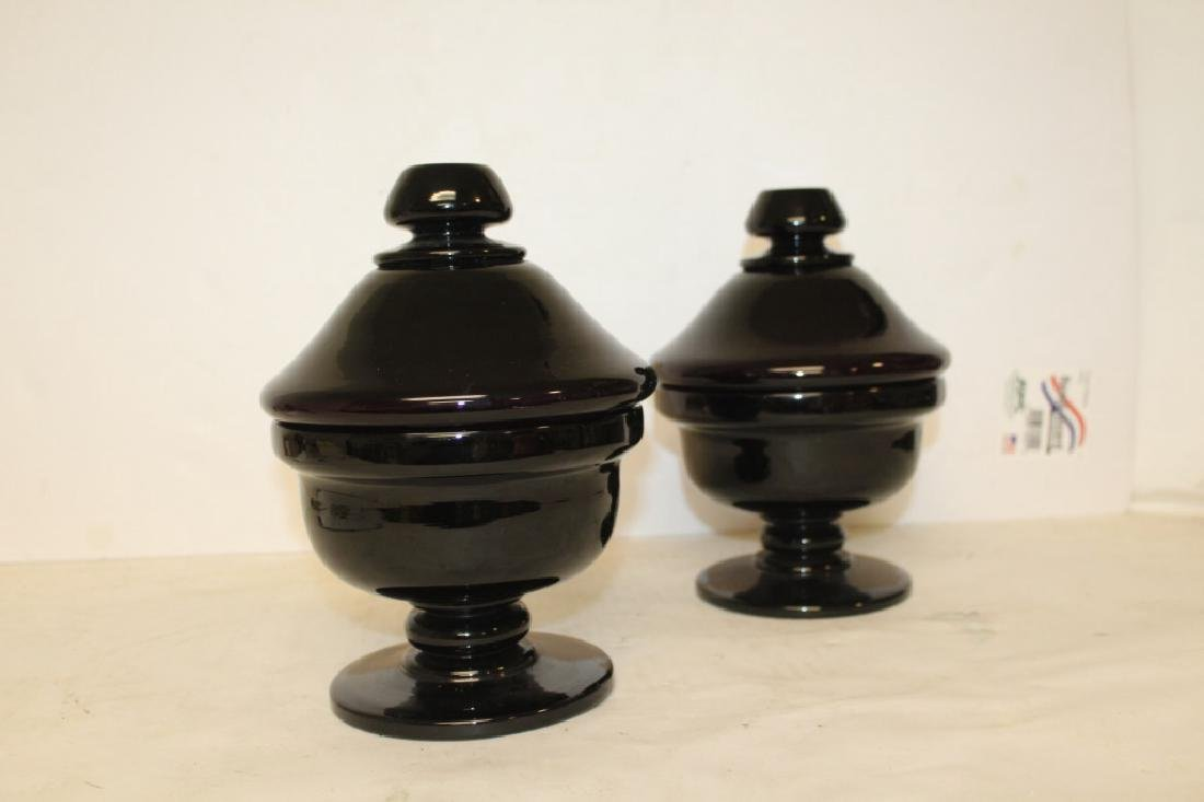 Pair of Amethyst Glass Covered Urns - 3