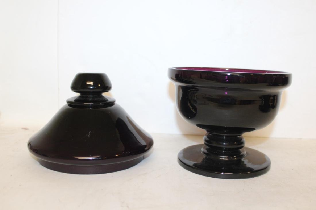 Pair of Amethyst Glass Covered Urns - 4
