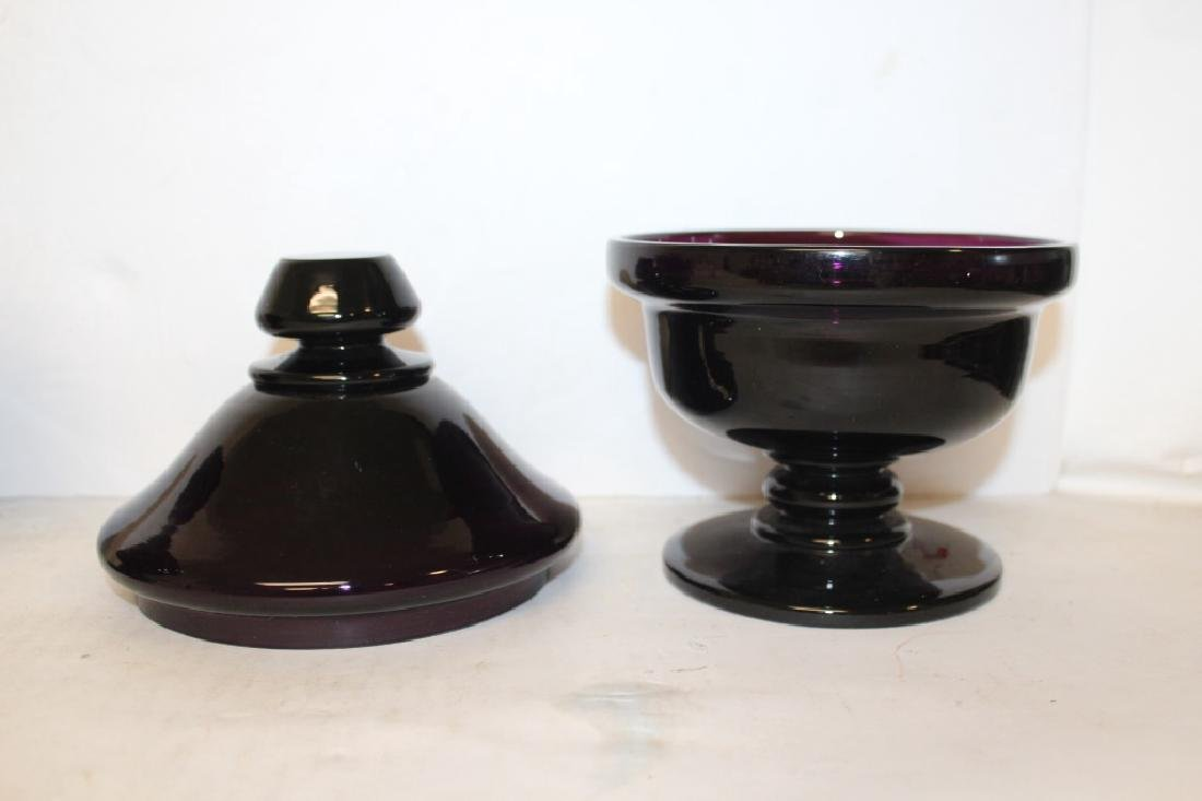 Pair of Amethyst Glass Covered Urns - 5