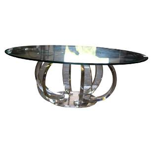 Modern Lucite and Glass Top Coffee Table