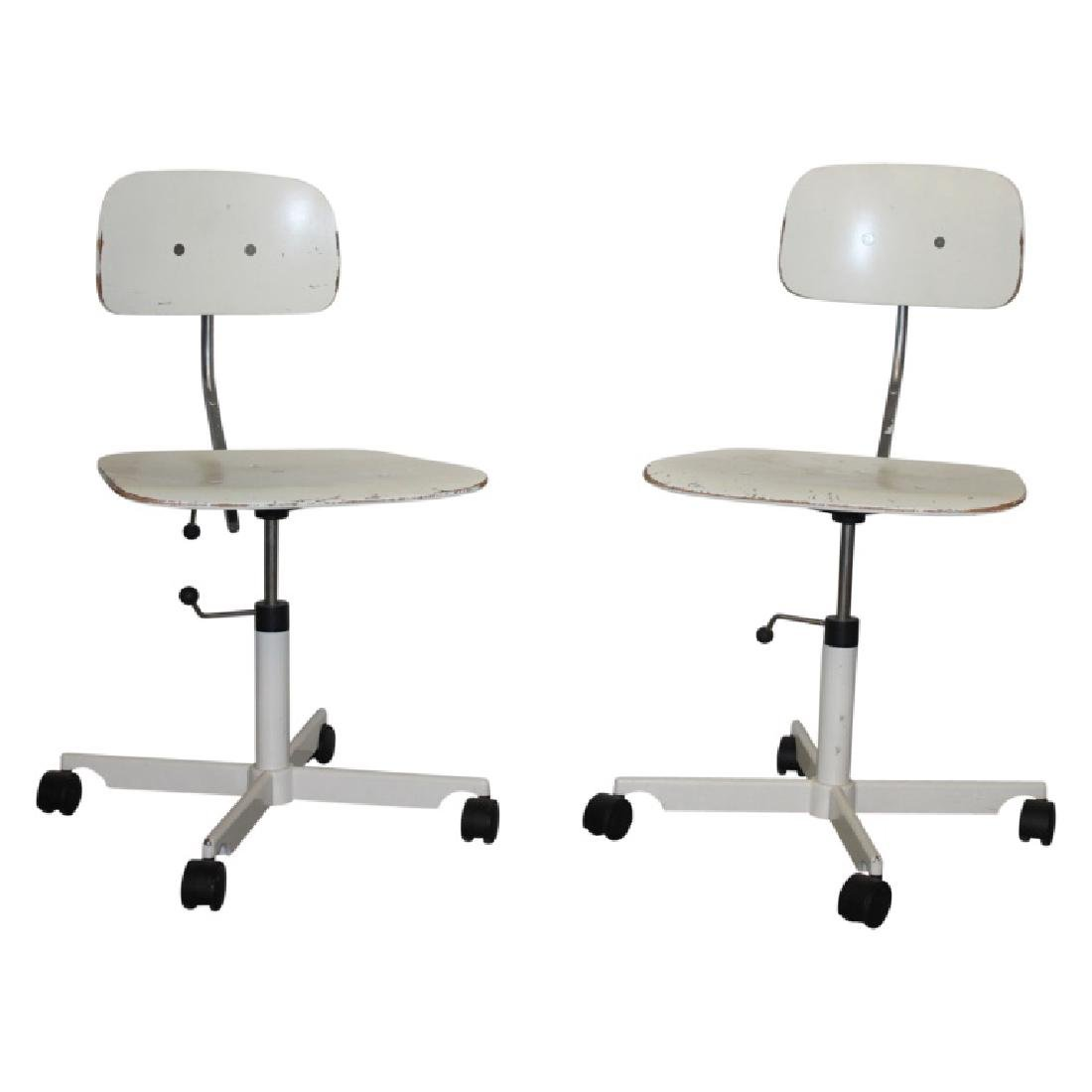 Pair of White Kevi Office Chairs