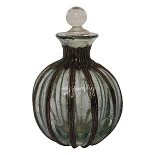 Glass and Sterling Silver Perfume Bottle